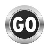 Go icon silver button Stock Photo