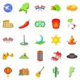 Go icons set, cartoon style. Go icons set. Cartoon set of 25 go vector icons for web isolated on white background Stock Photos