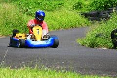 Go kart. Pilot turning left Stock Images