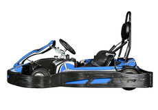 Go-Kart. Product type of photo of a Go-Kart on the track, fading into a black background Stock Photo