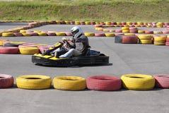 Go Kart. Racing on racecourse Royalty Free Stock Image