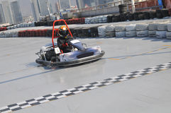 Go kart. A go kart is crossed the finish line Royalty Free Stock Photos