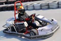 Go kart. A go kart is crossed the finish line Stock Photography