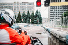Go kart driver on start line, back view Royalty Free Stock Photos