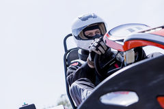 Go-kart driver on the starting line Royalty Free Stock Photos