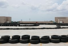 Go-kart outdoor karting racing track.  Royalty Free Stock Images