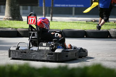 Go-Kart Race. Man racing his go-kart at the track Royalty Free Stock Photography