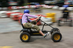 Go kart race. Action picture of a peddle go kart race Stock Photography