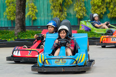 Go-kart race in Dream World, Thailand Royalty Free Stock Image