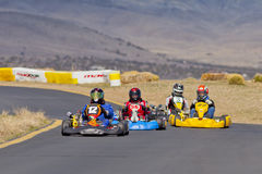 Go Kart Race Driver #12 in the Lead Stock Images
