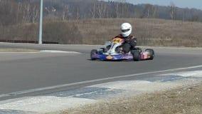 Go-kart on race turn stock video footage