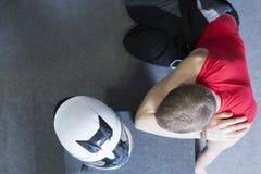 Go-kart racer and helmet Royalty Free Stock Image
