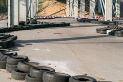 Go-kart racetrack circuit. Small karting racetrack, snake run formed out of car tires, motorsport for youth.  stock image