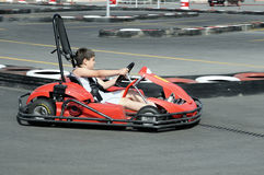 GO kart racing. On circuit Royalty Free Stock Image