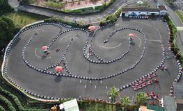 Racing track. Aerial view of a small go kart racing track from a large helium balloon Royalty Free Stock Photos