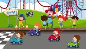 Go kart racing at fun fair. Illustration stock illustration