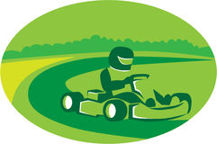 Go Kart Racing Oval Retro. Illustration of a man in a go kart racing set inside oval shape with trees and racing track in the background done in retro style Royalty Free Stock Images