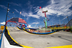 Go Kart Track And Amusement Rides Stock Photos