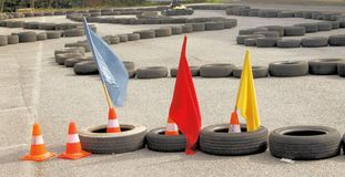 Go-kart. Track staged outdoors by race stock images
