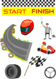 Go karting sport and equipment vector illustration. Vector colorful illustration of go karting sport and equipment.  Isolated on white background Stock Images