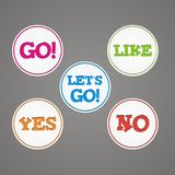 Go, like, yes, no, lets go sticker badge Royalty Free Stock Image