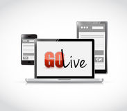 Go live website responsive electronics Stock Image