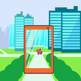 Go location technology. Search using your phone way, augmented reality, city in phone Royalty Free Stock Image