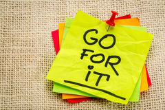 Go for it - motivational note Royalty Free Stock Photography