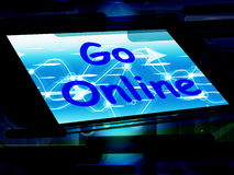 Go Online On Phone Shows Use Web Internet Online Royalty Free Stock Photos