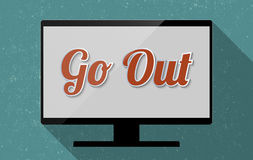 Go Out. Concept for the personal development and the balance between work and leisure. Flat design illustration Stock Photos