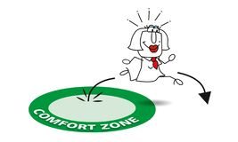 Go out his comfort zone. Karen is going out his comfort zone. It is a metaphore in coaching royalty free illustration