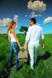 Go on picnic. Lovers go to picnic by green hill Royalty Free Stock Image