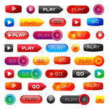 Go and play buttons media player internet website ui-ux element online website icon vector illustration Stock Image