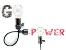 Go power  phrase and light bulb, hand writing,electricity, energ Stock Photos