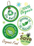 Go recycle , go organic, go green label Stock Images