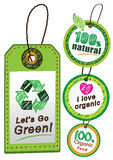 Go recycle , go organic, go green label Royalty Free Stock Images
