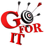 Go for it red words and conceptual target Stock Photo