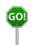 Go road sign. Green go road sign on white Royalty Free Stock Image