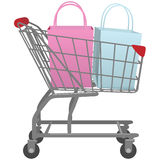 Go shop with cart big retail shopping bags Stock Photo
