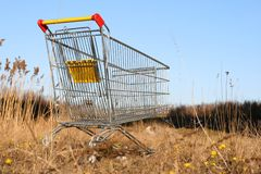 Go shoping cart. To the forest nature concept Royalty Free Stock Photo