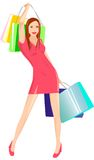 Go shopping!. Vector picture of nice shopping girl Royalty Free Stock Images