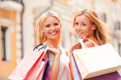 We always go shopping together. Royalty Free Stock Images