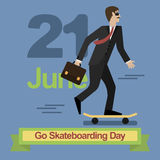 Go Skateboarding Day. 21 june Man in business suit riding a skateboard Stock Image
