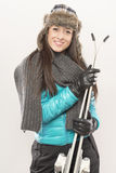 Go in for ski. Girl is ready for ski Royalty Free Stock Images