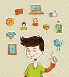 Go social teenager shows netwoks icons. Teenager presents social media actions with retro cartoon style icon set. Vector file layered for easy manipulation and Stock Photography