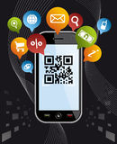 Go social via Smartphone: QR code app on black Stock Image