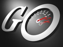 Go speedometer text on black Royalty Free Stock Images