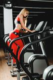 Go in for sports. Beautiful athletic young woman working out in a gym. Healthy lifestyle. Sports, fitness, bodybuilding royalty free stock images