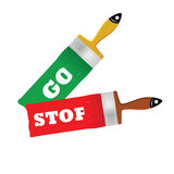 Go and stop on the brush for painting vector Stock Images