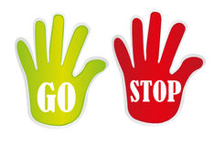 Go and stop hands Royalty Free Stock Images